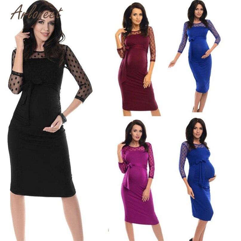 TELOTUNY Fashion 4 Colors Women Maternity Solid Sheath Three Quarter Knee-Length Dot Lace Dress 2017 Hot drop shipped OB19