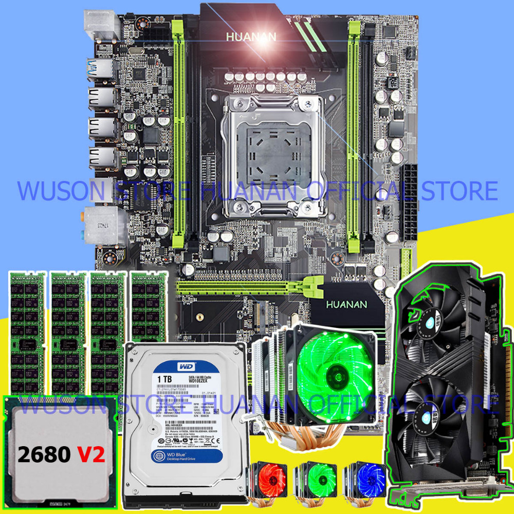 HUANAN X79 motherboard CPU RAM combos with video card GTX1050Ti 4GD5 1TB SATA HDD CPU Xeon E5 2680 V2 RAM 32G DDR3 RECC tested huanan x79 motherboard diy set cpu xeon e5 2680 v2 ram 32g 4 8g ddr3 recc 500watt psu video card gtx1050ti 240g sata3 0 ssd