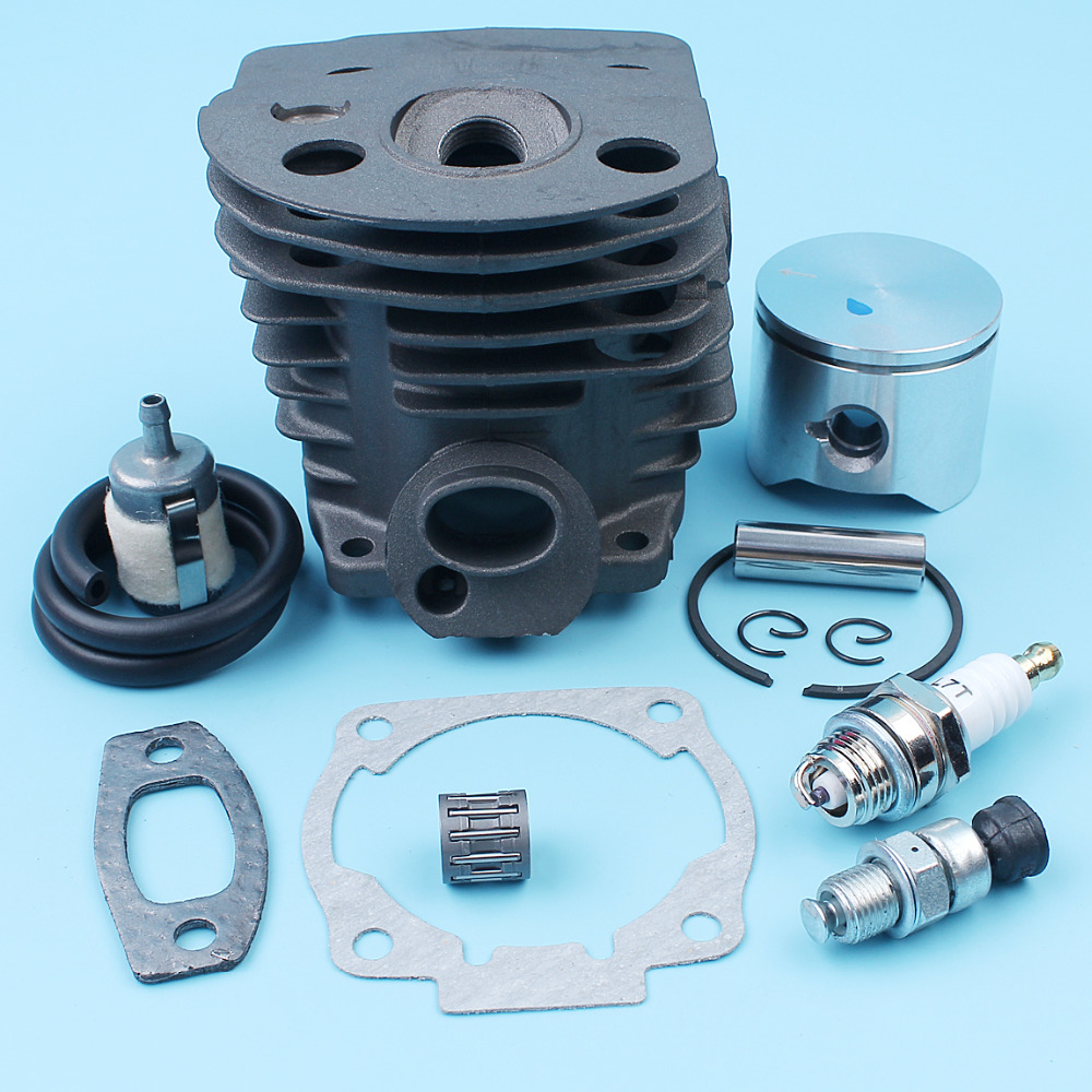 45mm Nikasil Plated Cylinder Piston Pin Ring Decompression Valve Kit For Husqvarna 51 55 Chainsaw Filter #503168301,503 16 83-01