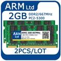 2 ШТ./ЛОТ 2 ГБ + 2 ГБ = 4 ГБ DDR2 RAM 1 ГБ 2 ГБ Memoria ddr2 667 МГЦ Sodimm памяти 2 ГБ PC2-5300 Для Ноутбука Пожизненная Гарантия быстрая доставка