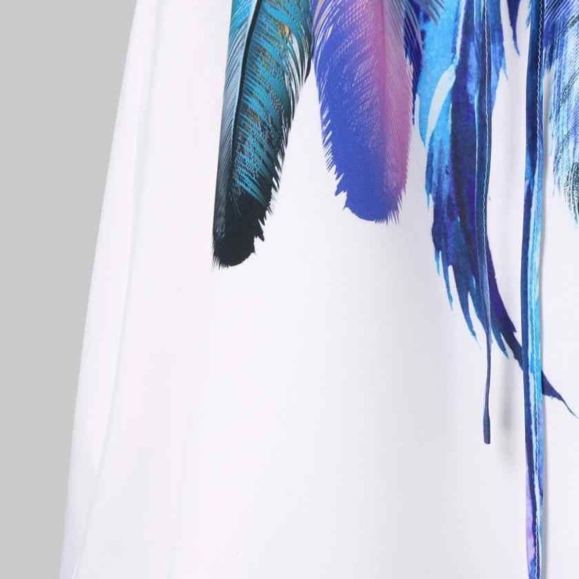 KANCOOLD 2018 летние платья, сексуальное женское модное повседневное Бандажное платье без рукавов с принтом в виде перьев, пляжный сарафан D30 Jun13