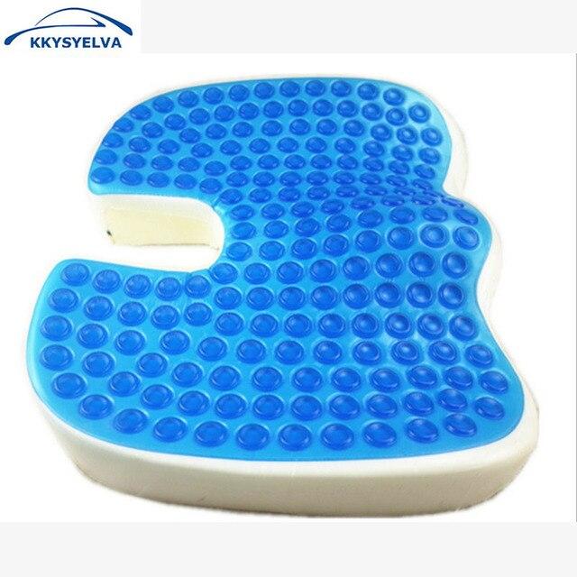 KKYSYELVA Seat Cushion Cooling Gel Memory Foam Large Orthopedic Tailbone For Sciatica Back Pain Car
