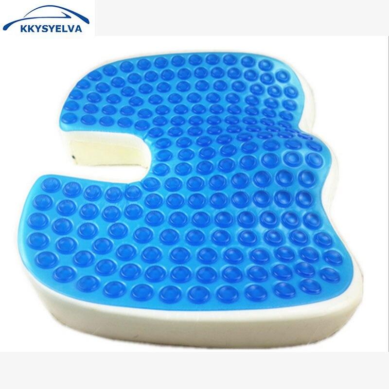 KKYSYELVA coussin de siège Gel de refroidissement mousse à mémoire grand coccyx orthopédique pour sciatique mal de dos housses de siège de voiture