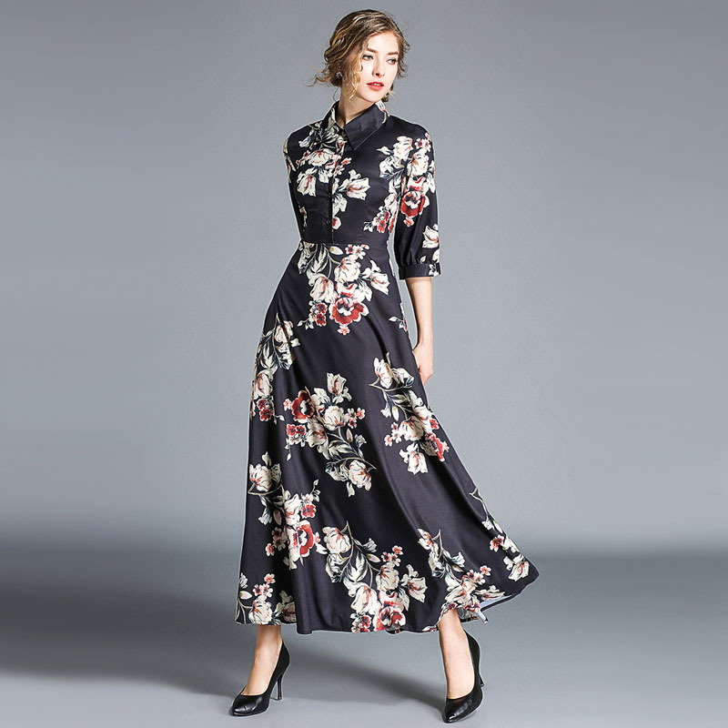 Fashion Autumn women 39 s lapel dresses 2018 Fall Chic three quarter sleeve maxi dress Slim fit floral print dress D332 in Dresses from Women 39 s Clothing