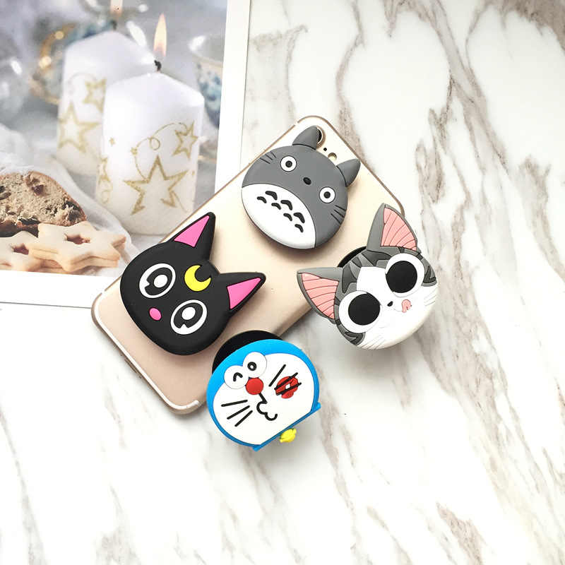 ... Hot Sales 3D Soft Silicone Universal Mobile Phone Holder Stand Cute Pop  socket Gasbag Cartoon Kitty ... 4a028aab63e3