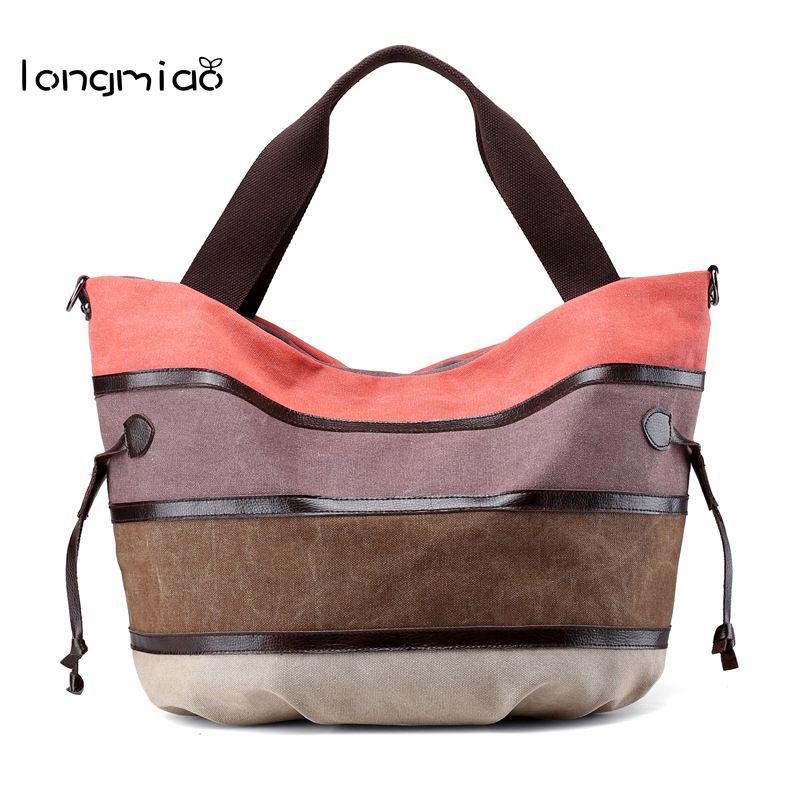longmiao Women Casual Canvas Tote Bag Large Capacity Ladies Shoulder Bags National Ethnic Striped Girls Handbags Bolsos Mujer
