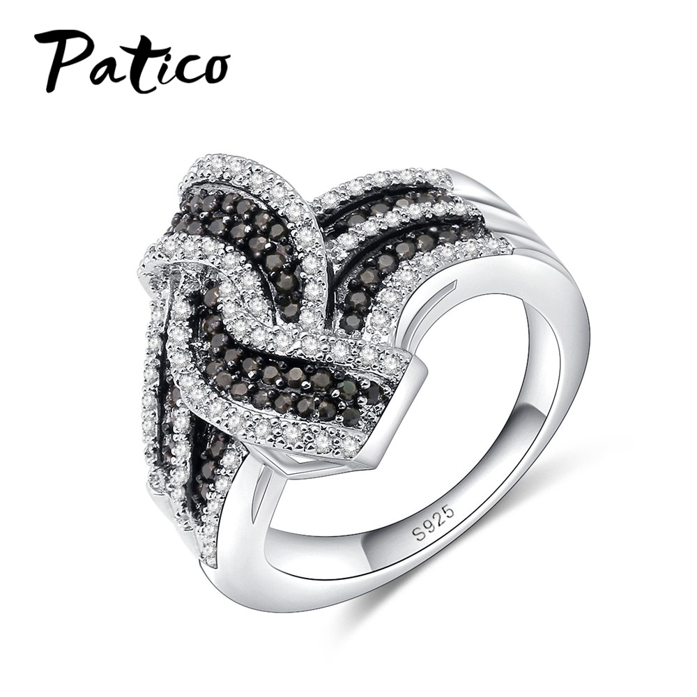 PATICO Top Quality Cross 925 Sterling Silver Wedding Rings For Women&Men Black&Black Geometry Finger Rings Femme Anillos Gifts