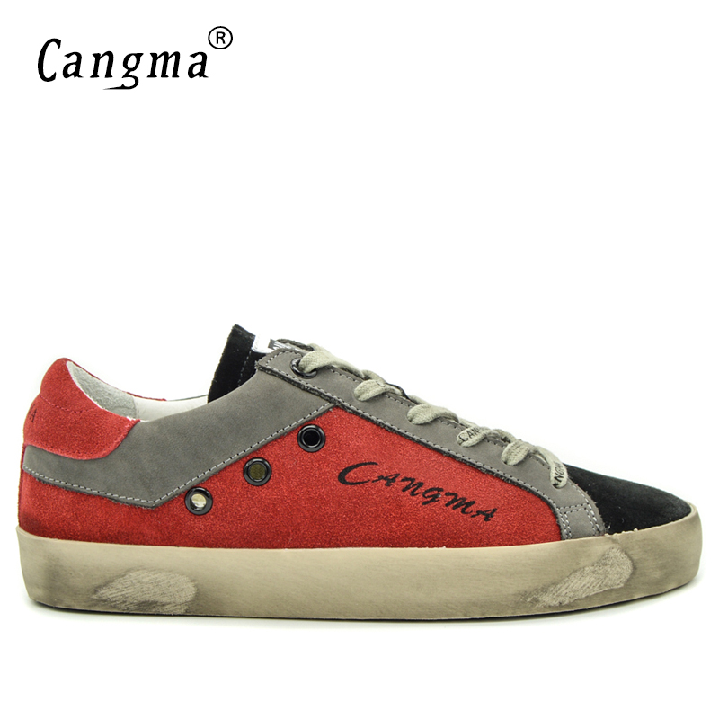 CANGMA Brand Sneakers Newest Casual Shoes Male Red And Black Cow Suede Moccasins Autumn Footwear Young Breathable Flat Shoes glowing sneakers usb charging shoes lights up colorful led kids luminous sneakers glowing sneakers black led shoes for boys