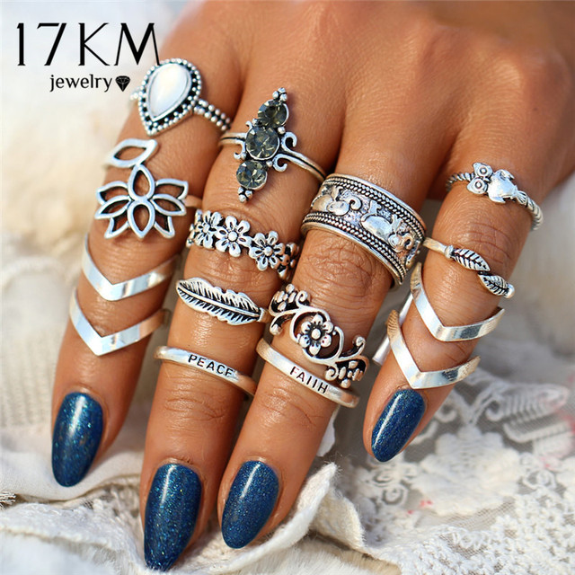 17KM Vintage Leaf Flower Rings For Women Fashion Retro Geometric Silver Color Knuckle Ring Set Statement Jewelry Gifts 2018