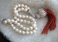 Nước ngọt pearl white vòng leopard clasp hạt đá màu đỏ necklace 18