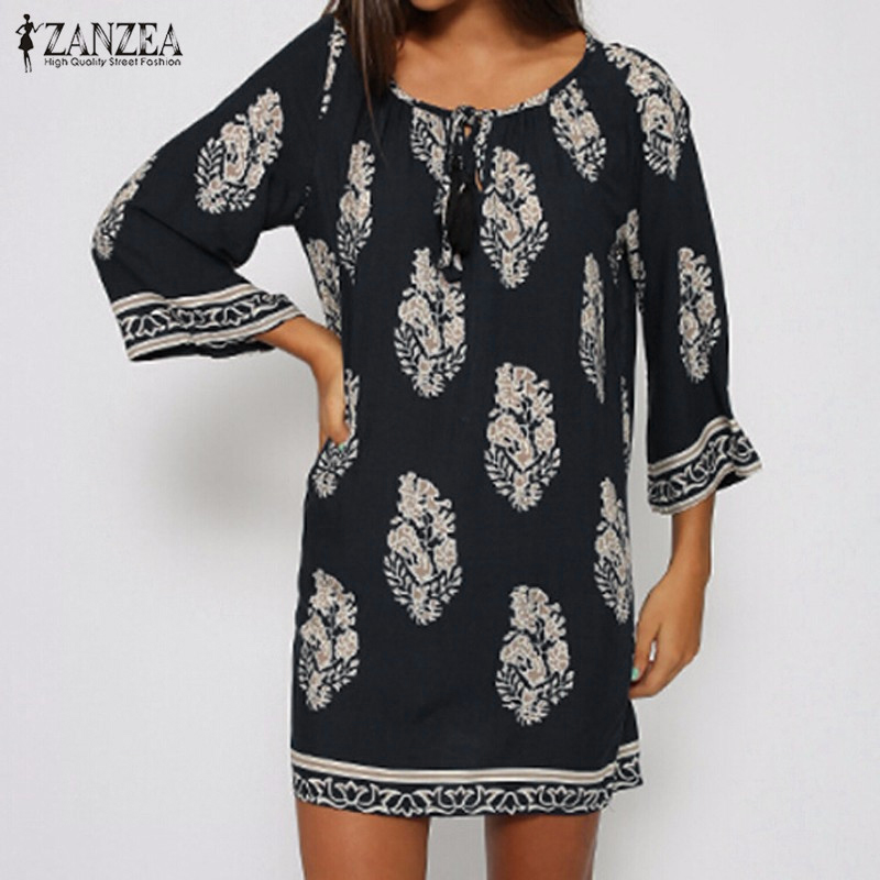 Женское платье ZANZEA 2017 Vestidos s/5xl