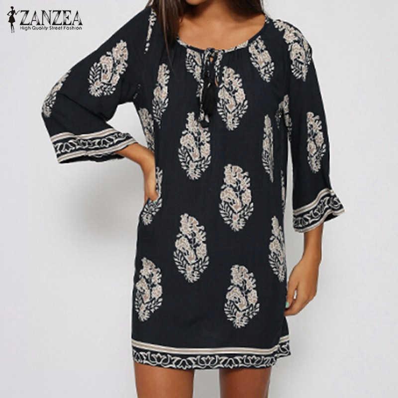 ZANZEA женское мини платье с принтом 2019 сексуальные ретро Элегантные платья со шнуровкой Длинные Топы повседневное свободное пляжное платье Vestidos плюс размер S-5XL