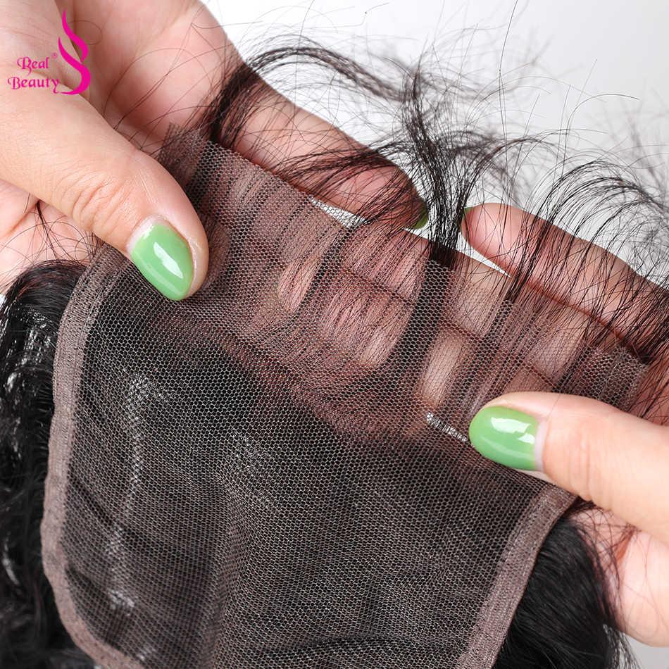 """Настоящее Красота Бесплатная Часть бразильские волна воды кружева застежка с ребенком волосы связали Remy 8 """"-18"""" человеческих волос Weave Связки Бесплатная доставка"""