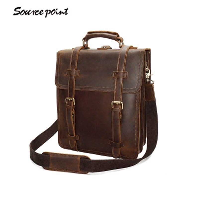 купить SOURCE POINT Hight Quality Vintage Crazy Horse Leather Men Backpack Genuine Leather Shoulder Bags Laptop Case For Men YD-8062 по цене 8138.62 рублей