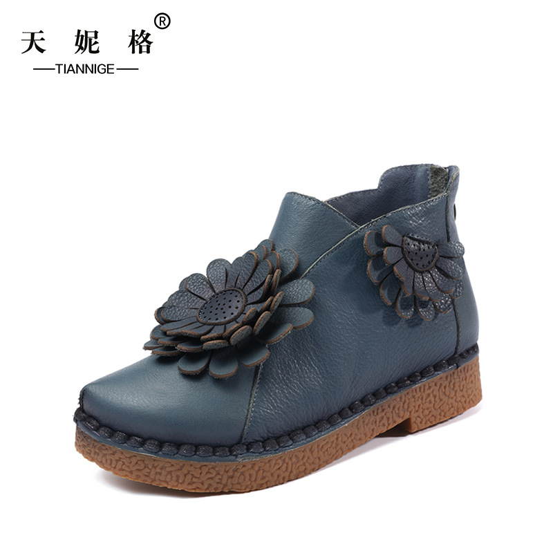 2017 women short boots platform shoes handmade ankle boots vintage thick heel genuine leather handmade genuine leather boots vintage national trend women boots twiddlefish platform flat heels boots women shoes