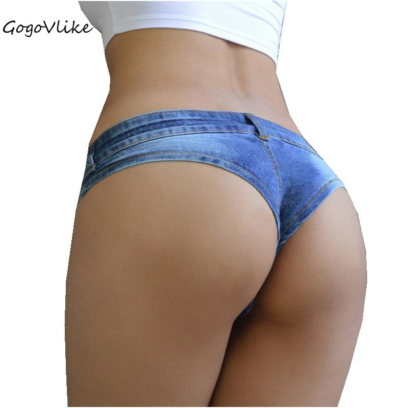 Pole dance short Sexy Women's blue thong Shorts Jeans denim Micro Mini Ultra Low Rise Waist Clubwear jeans cortos mujer DK047S2