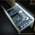 OPPEIN Plastic Knife & Fork Divider Rectangle Storage Box Bins Cutlery Tray Bamboo Drawer Forks Knife Spoon Storage