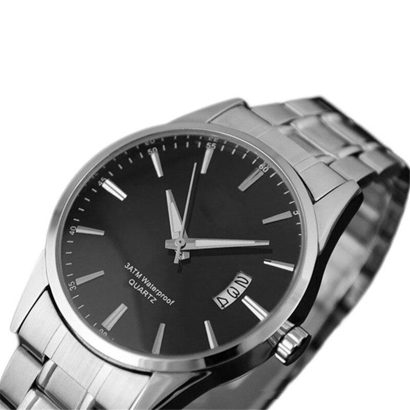 Brand Men Watches Fashion Sliver Stainless Steel Band Date Analog Quartz Sport Mens Clock Wrist Watch