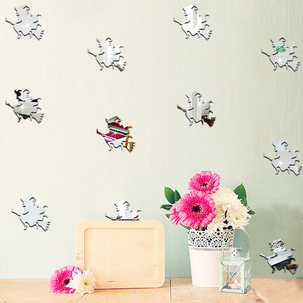 96pcs Halloween Witch Pattern Mirror Wall Sticker Baby Room Living Room  Bedroom TV Sofa Background Decorative Mirror Sticke In Wall Stickers From  Home ... Part 88