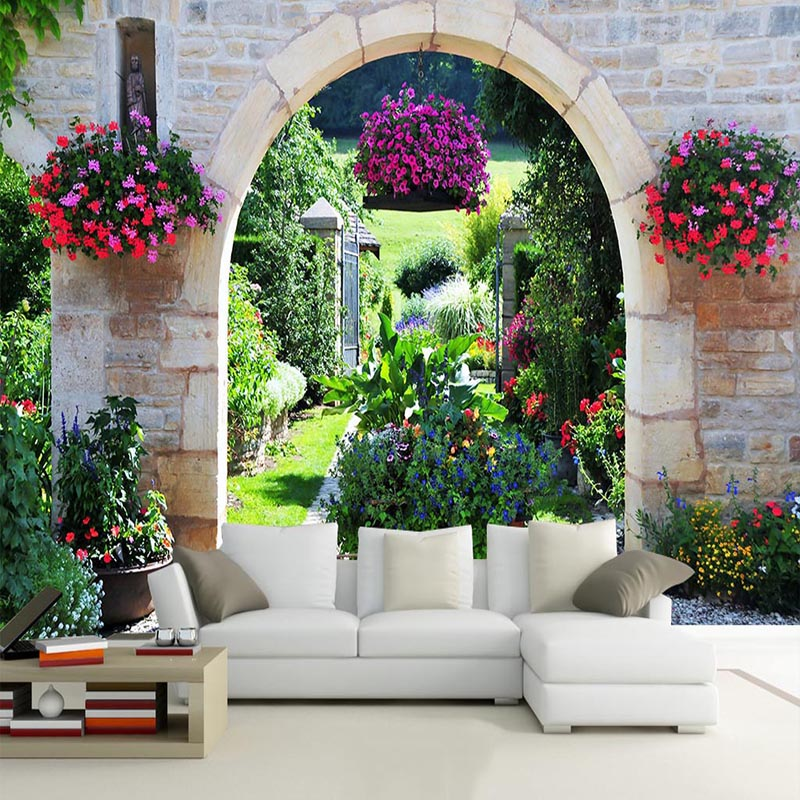 Mediterranean Garden Photo Mural Wallpaper Modern Cafe Restaurant Bedroom Backdrop Wall Home Decor 3D Landscape Wallpaper Murals bp 3 home garden