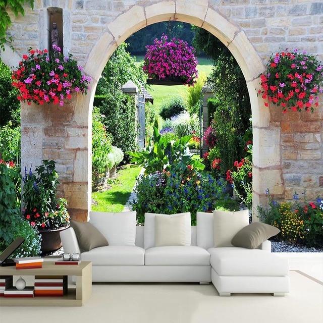 Mediterranean Garden Photo Mural Wallpaper Modern Cafe