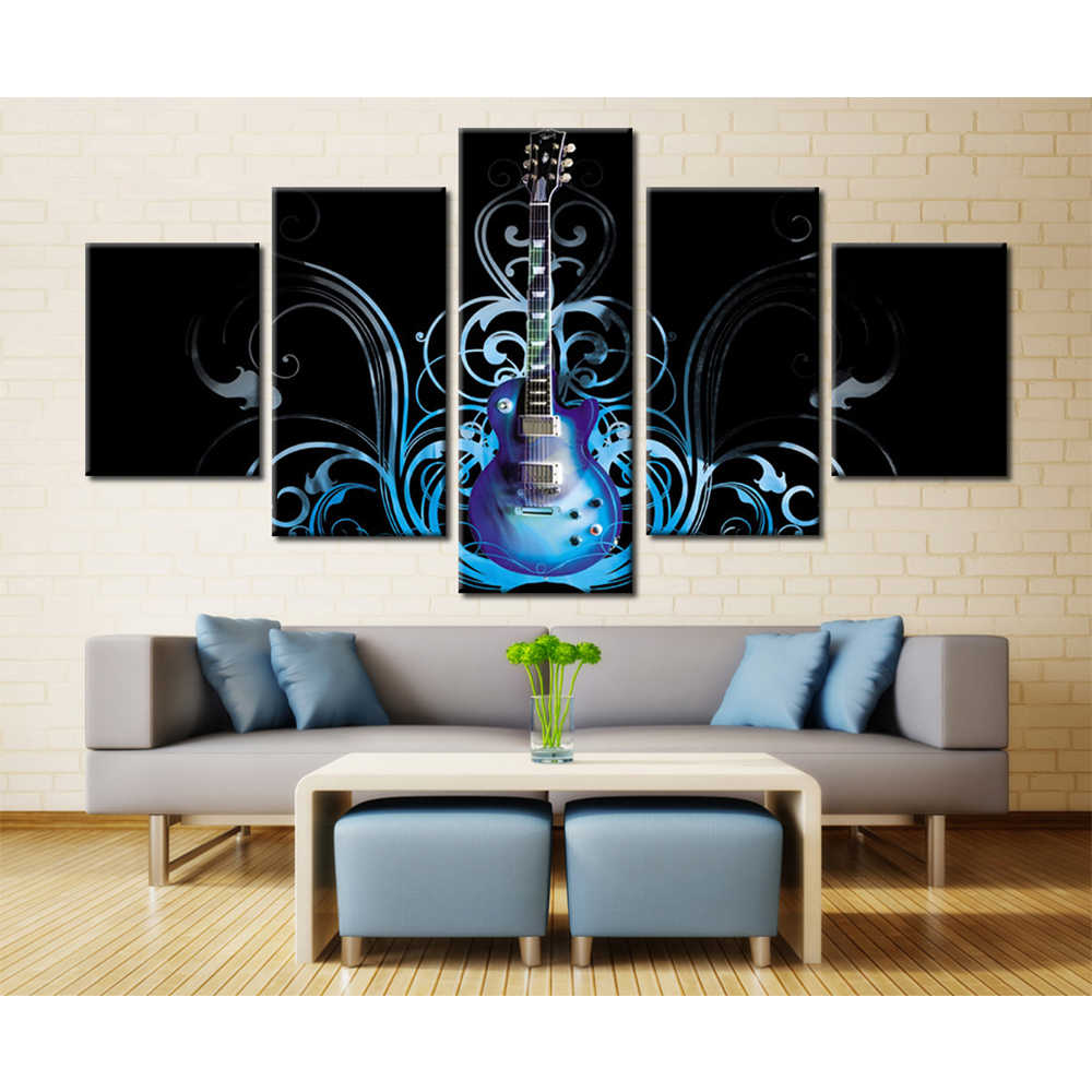 5 Pieces/Set Guitar Musical Instruments Abstract Flowers HD Spray Canvas Modular Painting For Home Decor Living Room Wall Poster