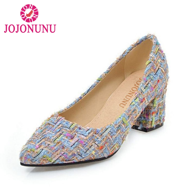 JOJONUNU Size 31-47 Office Lady High Heel Shoes Women Cloth Pointed Toe Thick Heel Pumps Party Shoes Women Sexy Women Footwear amourplato women s ladies handmade fashion big large size thick block heel closed toe high heel party office pumps chunky shoes