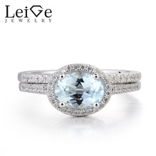 Leige Jewelry Aquamarine Promise Ring Natural Aquamarine Ring March Birthstone Blue Gemstone 925 Sterling Silver Gifts for Her