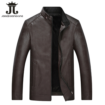 New PU leather Jacket men fashion winte fleece thicker solid coat men Keep warm man stand neck zipper jackets size L-4XL XL1866