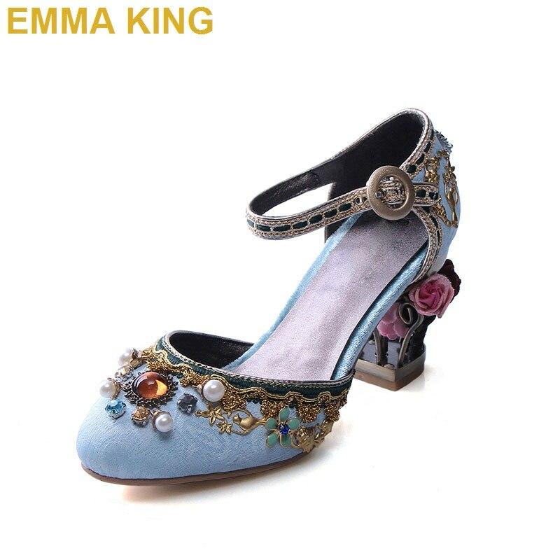 Cage à oiseaux Fretwork femmes chaussures en cuir véritable talons hauts bride à la cheville femmes chaussures de mariage strass Sexy pompes chaussures habillées