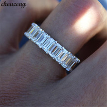 цена на choucong Handmade ring 925 sterling Silver Princess cut AAAAA Zircon Engagement Wedding Band Rings For Women men Jewelry