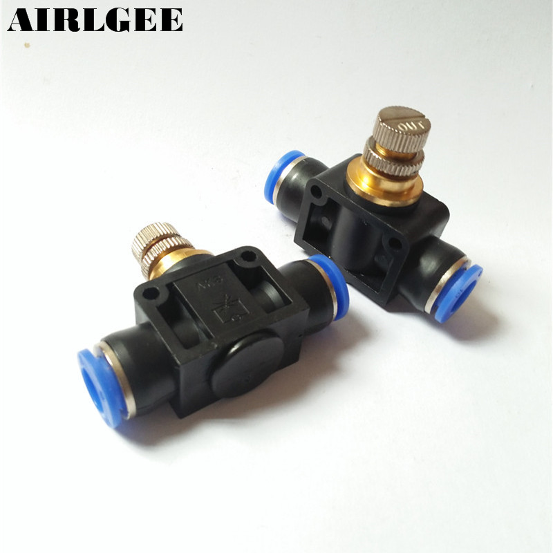 2 Pcs 10mm Two Way One Touch Pneumatic Quick Fitting Speed Controller Valve Free shipping 2 pcs 10mm two way one touch pneumatic quick fitting speed controller valve free shipping
