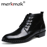 Merkmak Luxury Handmade Men Martin Boots Fashion Patent Leather Black Pointed Toe Ankle Boots For Men