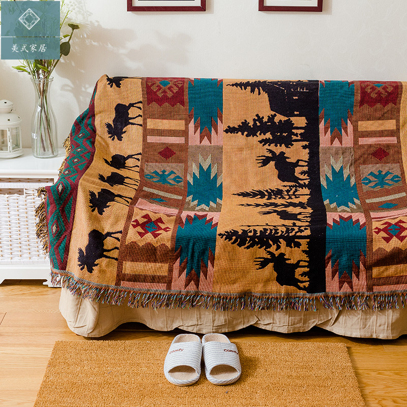 American Deer Blanket Sofa Decorative Slipcover Throws on Sofa/Bed/Plane Travel Plaids Rectangular Color Stitching Blankets  american lattice blanket sofa decorative slipcover throws on sofa bed plane travel plaids rectangular color stitching blankets