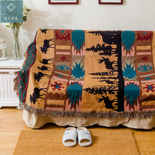 American Deer Blanket Sofa Decorative Slipcover Throws on Sofa/Bed/Plane Travel Plaids Rectangular Color Stitching Blankets
