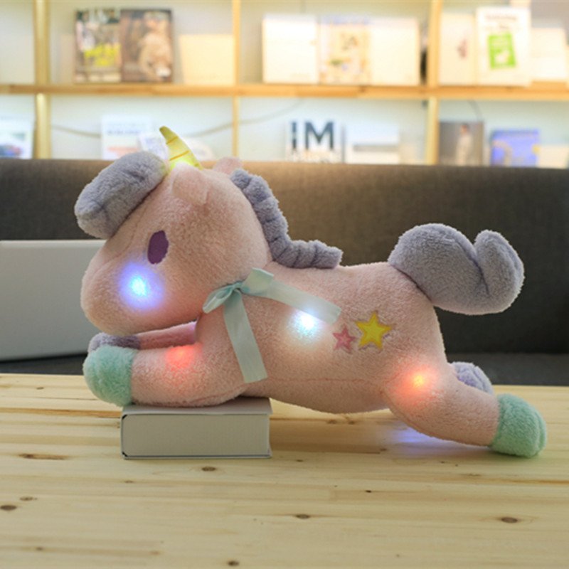 1pc 55cm Kawaii Light Colorful Unicorn Plush Toy Soft Staffed Luminous Pillow Home Furnishing Decor Valentines Gift for girlkid