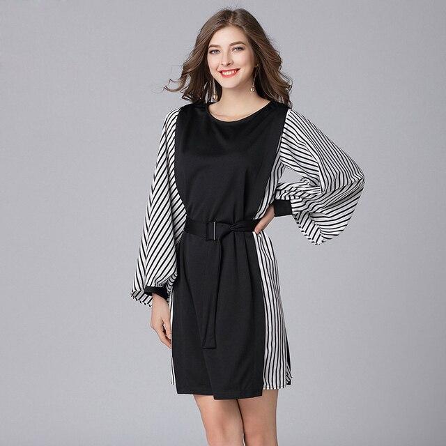 e5e98ead1d 2019 women spring casual dresses plus size strip patchwork designer sleeves  women fashion loose dress with belt