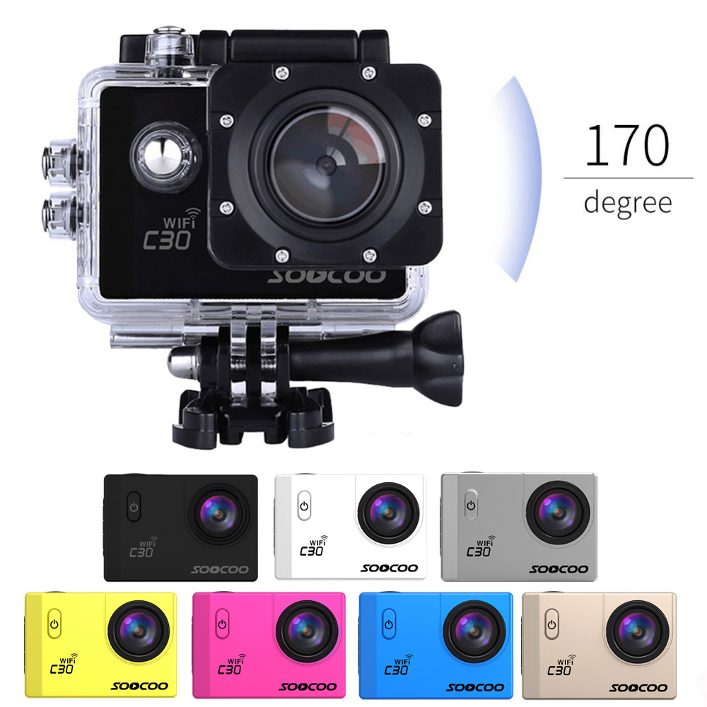 6pcs SOOCOO C30 4K Action Camera Wifi Sport cam 30m Waterproof NTK96660 Gyro 70-170 Degree Adjustable outdoor diving DV DHL free стоимость