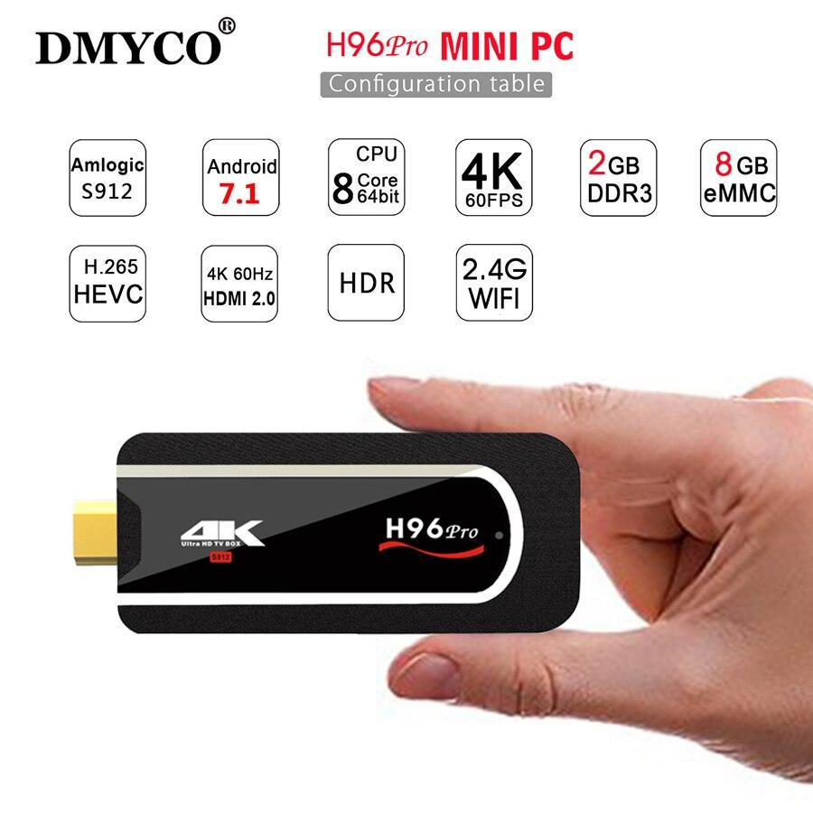 H96Pro Smart Mini PC Android 7.1 Amlogic S912 Octa Core 2G 8GB 4K 3D Set Top Box BT 4.1 Wifi TV stick Media Player smart tv box цена