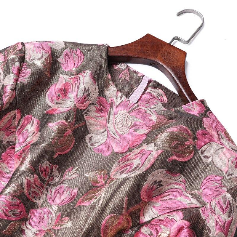 European Fashion Dress 2018 Autumn Winter Party Christmas Dress Women Pink Rose Flower Print Long Sleeve Bow Elegant Vestido - 2