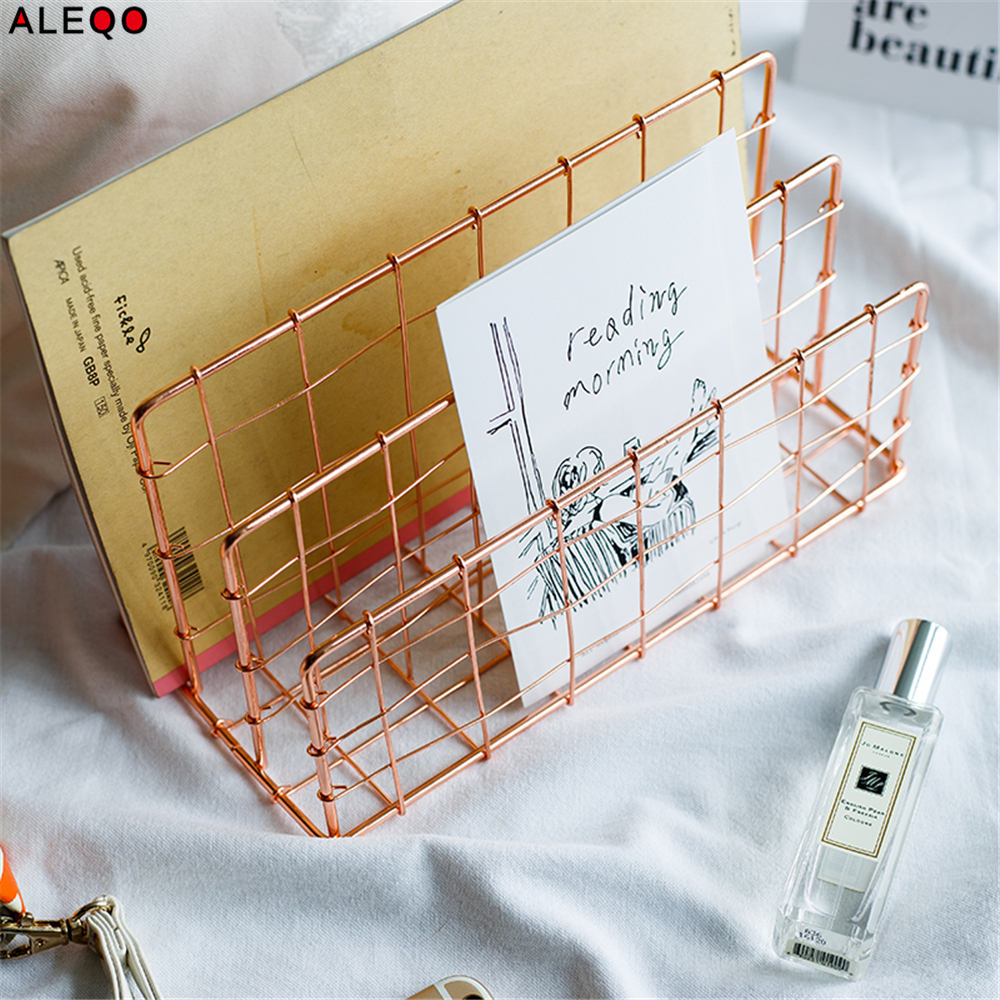 Metal Rose Gold and Gold Storage Basket Shelf Vogue Modern Nordic Graceful Net Iron Desk Magazine Book Storage Basket Organizer