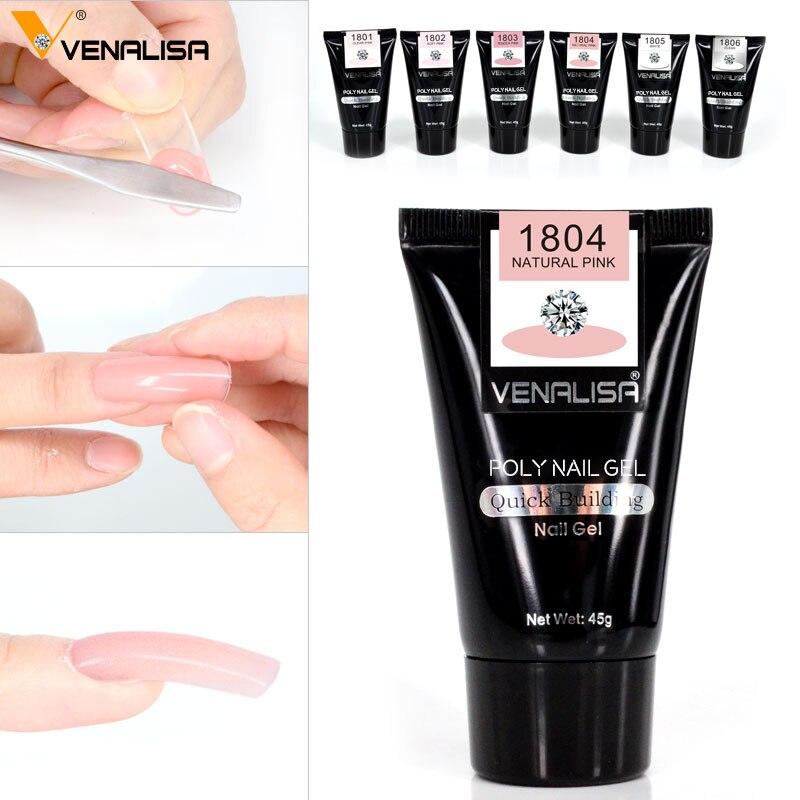 VENALISA акриловый гель для ногтей грунтовка основа верхнее покрытие натуральный розовый удлиненный гель Чистый цвет ломтик для ногтей с кисть...