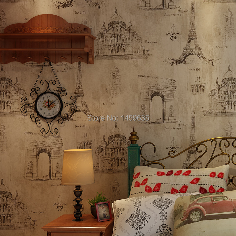 American country retro nostalgia French Eiffel Tower wallpaper bedroom living room wall paper background Coffee Bar series s 3d puzzle paper diy papercraft double decker bus eiffel tower titanic tower bridge empire state building