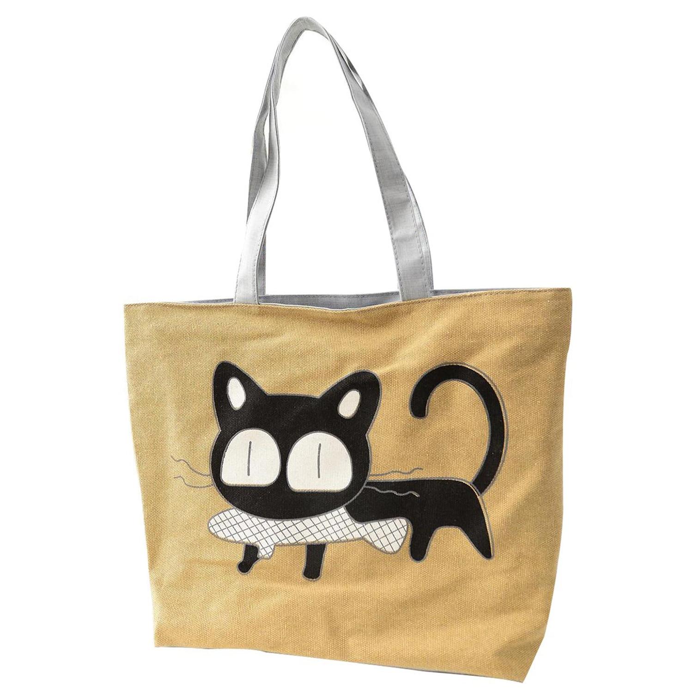 Girl cat eat fish shopping bag Shoulder Women font b Handbags b font beach tote bags