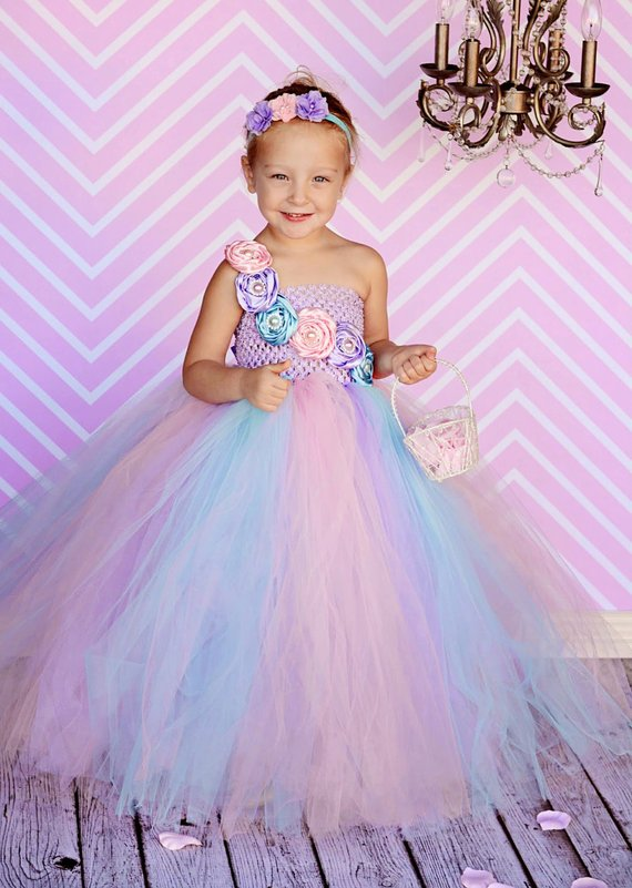 33a10dcb2ec6 POSH Dream Pink Blue Flower Kids Girls Birthday Party Dresses Pastel  Couture Wedding Flower Girl Tutu Dress Kids Girls Clothes-in Dresses from  Mother & Kids ...