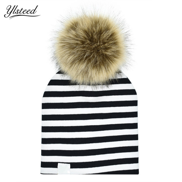 609b3acf6d8 Cotton Stripe Baby Hat Faux Raccoon Fur Baby Boy Girl Hat Autumn Winter Pom  Pom Kids