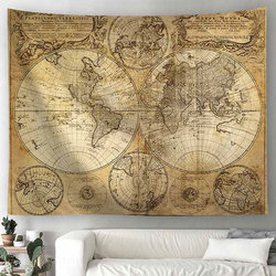 World Map Scenery Printed Polyester Wall Hanging Tapestry Room Decorative Wall Tapestry Carpet Beach Towel Rectangle Tablecloth