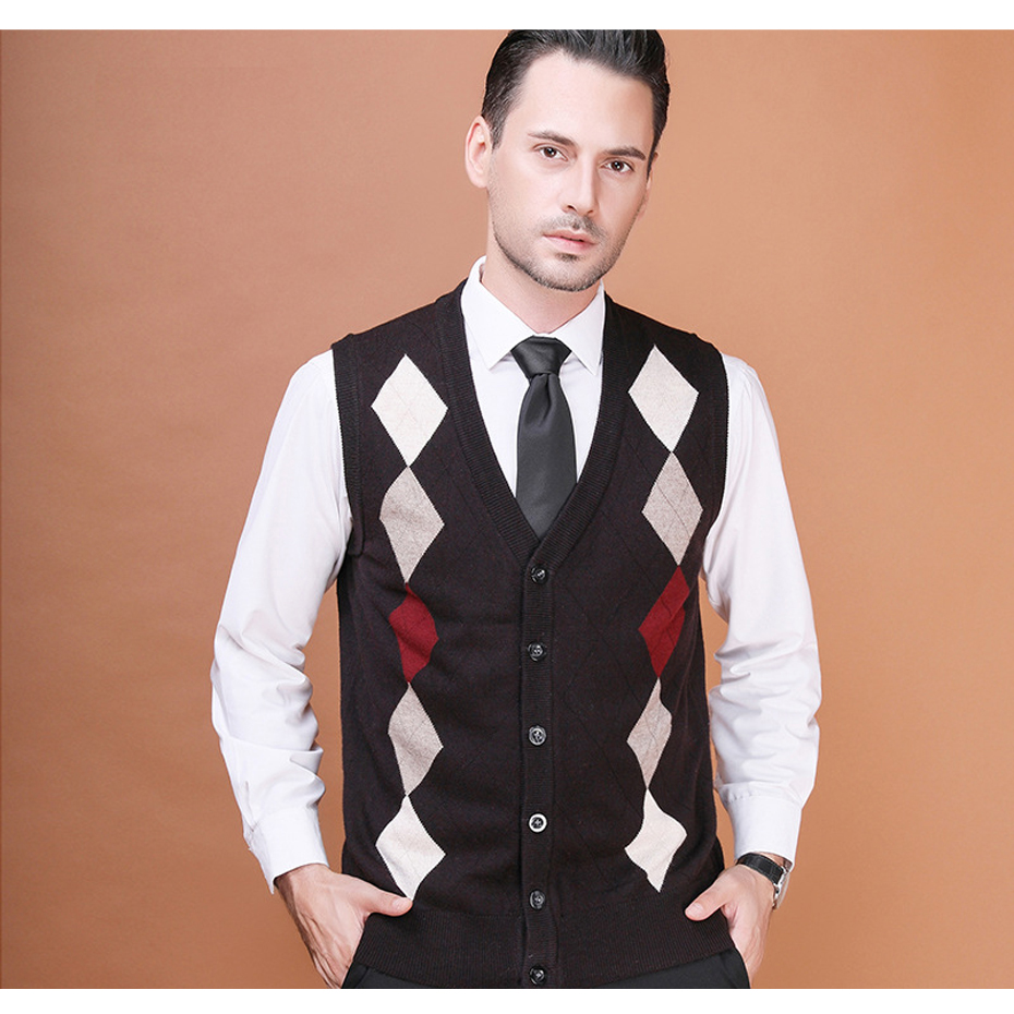 Men's Wool Sweater Cardigan Sleeveless Plaids Buttons Down Basic Knit Vest Casual Fashion for Autumn Winter 2017K-10