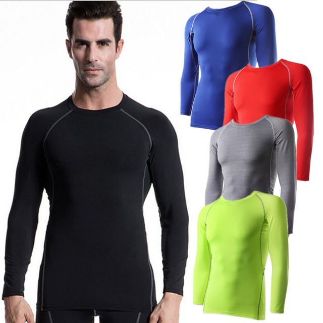 7fa5cfdf186  1039 Mens Body Gym Sports Running Training Compression Muscle Base Layer  Thermal Top Long Sleeve Shirts Tops 6Colors Size S-XXL