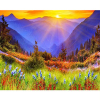 New Generation Mosaics Cross Stitch Diamond Painting Landscape Quare Full Drill Needlework Painting Diamond Embroidery Sunset